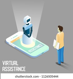 Virtual assistance vector concept illustration. Isometric smartphone with robot virtual assistant or chatbot communicating with human male. Personal assistant mobile apps.