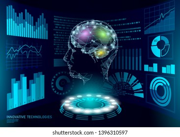 Virtual assistant HUD user display technology. AI artificial intelligence robot support. Chatbot human brain neural network low poly vector illustration