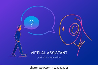 Virtual assistant and voice recognition concept gradient line vector illustration of people asking voice assistant without missunderstanding. Man standing and and talking to big ai head