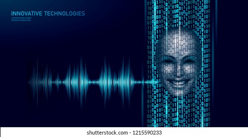 Virtual assistant voice recognition service technology business concept. AI artificial intelligence robot help work support. Chatbot futuristic binary code computer program vector illustration