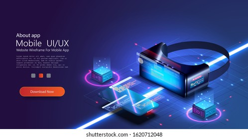 Virtual or augmented reality concept in isometric vector illustration. VR/AR glasses connection to network. Can be used as website poster or landing page design. 3D VR glasses on blue grid background
