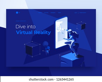 Virtual augmented reality concept with people playing a video game on the dark blue background. A man in a smartphone gives his hand to a woman. Landing page. 3d vector isometric illustration.
