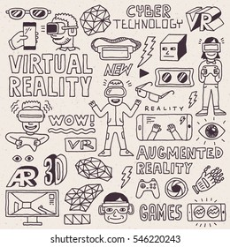 Virtual and Augmented Reality Doodle Concept Hand Drawn Set. Vector Illustration.