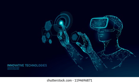 Virtual augmented reality helmet low poly. Innovation media entertainment polygonal concept. HUD user display digital control science panel. Man work computer data analysis vector illustration