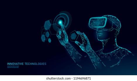 Virtual augmented reality helmet low poly. Innovation media entertainment polygonal concept. HUD user display digital control science panel. Man work computer data analysis vector illustration