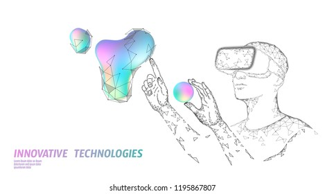 Virtual augmented reality helmet low poly. Innovation media entertainment polygonal concept. Neon liquid gradient digital control science panel. Man work computer data analysis vector illustration