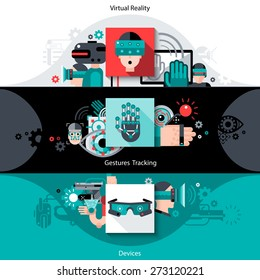 Virtual augmented reality horizontal banners set with tracking gestures devices elements isolated vector illustration