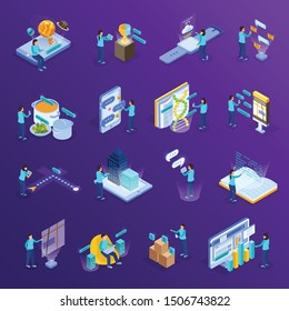 Virtual augmented reality isometric icons set with scientific information education computer simulated objects purple background vector illustration