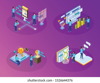 Virtual augmented reality software immersing users in computer created scientific educative environment 4 isometric compositions vector illustration