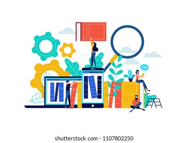 Virtual book library illustration, people studying for college exam preparation, distance learning phone app or e-library concept. EPS10 vector.