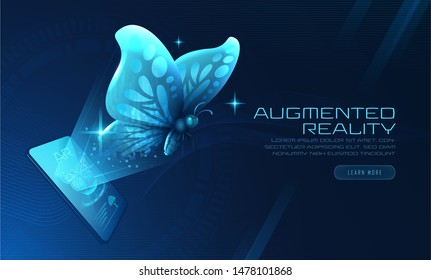 Virtual Butterfly Augmented Reality fly out from smartphone, Suitable for innovation technology development background cover or banner, Vector illustration