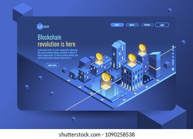 Virtual cash transaction, cryptocurrency blockchain concept. Datecenter or crypto bank concept for web banner, infographics, hero images. Isometric vector illustration isolated on generic background.