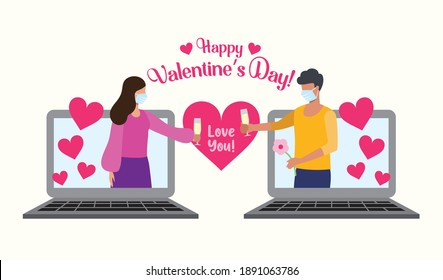 Virtual celebration. Couple video calling each other during valentine's day. Love during the pandemic. Covid-19 on February 14. Couple wearing mask.