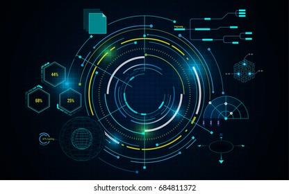 virtual circle tech futuristic pattern hud ui concept background