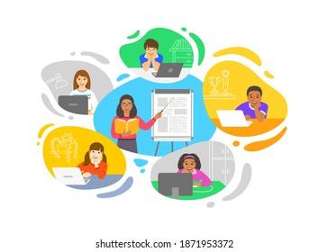 Virtuelle Klasse Online-Schule Fernunterricht Telekonferenz. Kinder bleiben zu Hause und schauen sich die schwarze Lehrerin Video-Unterricht. Fernunterricht während einer Koronavirus-Pandemie. Schulprogramm von zu Hause aus
