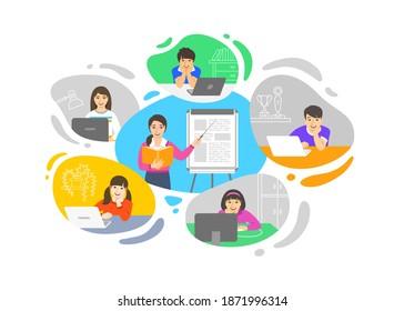 Virtuelle Klasse Online-Schule Fernunterricht Telekonferenz. Kinder bleiben zu Hause und schauen asiatische Lehrerin Video-Unterricht. Fernunterricht während einer Koronavirus-Pandemie. Schulprogramm von zu Hause aus
