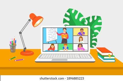 Virtuelle Klasse Online-Schule Fernunterricht Telekonferenz. Kinder bleiben zu Hause und schauen junge Lehrerinnen Videostunden an. Fernunterricht während einer Koronavirus-Pandemie. Schulprogramm von zu Hause aus