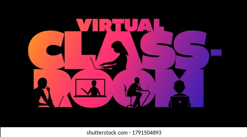 Virtual classroom concept typographic design vector. Silhouette students watching lesson, and the teacher explains the lesson in laptop.