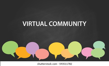 virtual community white text illustration with colourful empty callouts and black background