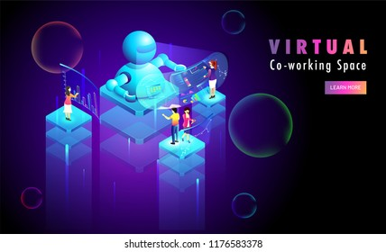 Virtual Co-Working or Remote working concept based web template design with isometric illustration of robot and minature business people on abstract background.