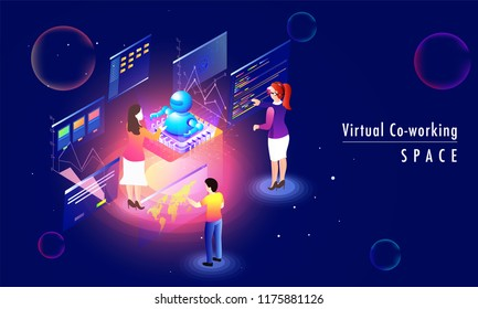 Virtual Co-Working Space concept based landing page design with minature people analysis data together on abstract blue background.