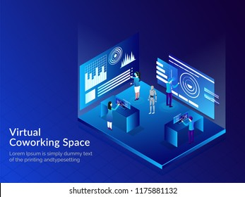 Virtual Co-Working Space, Isometric illustration of business people analysis data through VR glasses for remote working concept based web template design.