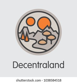 Virtual Currency Decentraland. Net Banking and MANA Mining Vector Concept. Virtual Currency Mining Finance Colored Logo.