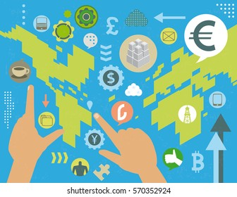 Virtual currency exchange market manipulation world map concept, with social media icons, infographics elements and grunge texture.