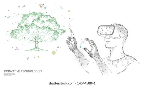Virtual digital biotechnology tree engineering concept. 3D render VR helmet augmented reality vitamin supplement. Medical science life eco polygon biology future research vector illustration