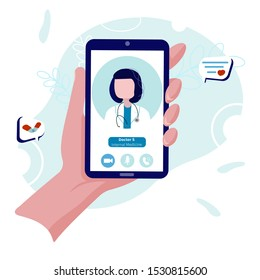 Virtual doctor on your phone concept. Call the doctor to get online diagnosis and prescription