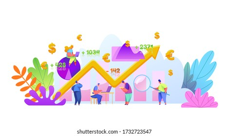 Virtual financial assistant, online trading concept with male, female analytics with laptop financial research. Assets management, investment, money and profit concept with market growth graph.