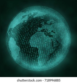 Virtual globe with binary code.  Global Digital Connections. Virtual reality concept.  Vector illustration. eps10