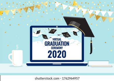 Virtual graduation ceremony 2020 greetings, laptop screen. Pandemic coronavirus covid-19 measure. Tradition to throw up mortarboard hats. Online celebration meeting. Use technology, stay safe. Vector