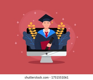 Virtual graduation in desktop computer mockup. Online graduation for class of 2020 because of corona virus pandemic. Man in academic gown. Flat vector design.