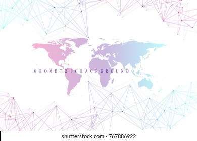 Virtual Graphic Abstract Background Communication with World Map. Perspective backdrop of depth. Digital data visualization. Vector illustration