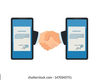 Virtual handshake between two phones. Digital contract concept. Digital signature, remote business. Business vector illustration, flat design, cartoon style. Isolated on white background, front view.