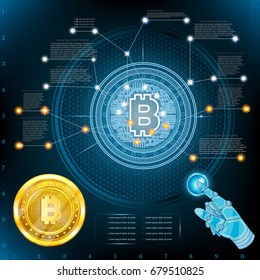 Virtual high tech screen or graphic with golden bit coin in center. Business info graphic