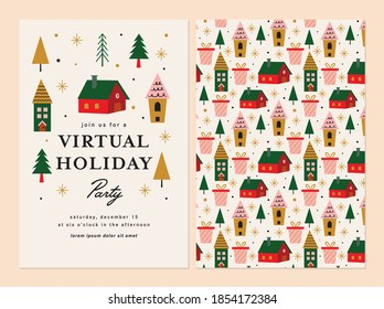 Virtual Holiday Party Invitation Template Design.