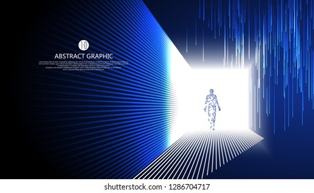 Virtual humans walking in the strange light.