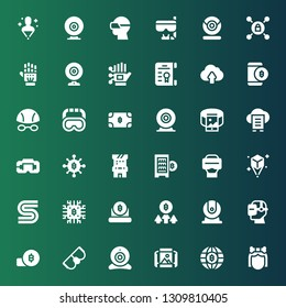 virtual icon set. Collection of 36 filled virtual icons included Troglodyte, Bitcoin, Panoramic view, Webcam, Goggles, Virtual reality, Sega, Hologram, Digital currency, Arcade game