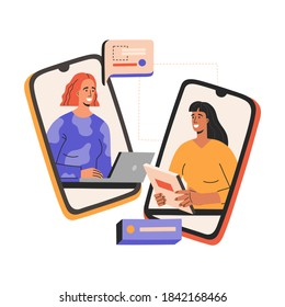 Virtual job interview, two smiling woman have business meeting, meeting by smartphone. Head hunter hiring, young employe in flat cartoon style, vector illustration, isolated in white background.