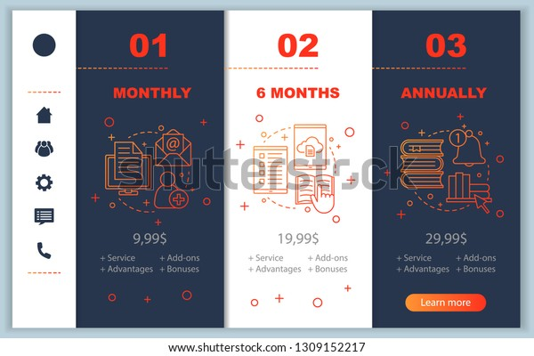Virtual Library Onboarding Mobile App Screens Stock Vector (Royalty
