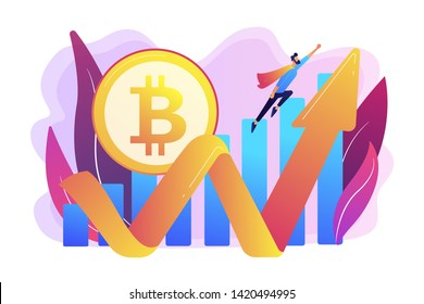 Virtual money capitalization rise. Blockchain technology. Cryptocurrency makes comeback, bitcoin price back, cryptocurrency market growth concept. Bright vibrant violet vector isolated illustration