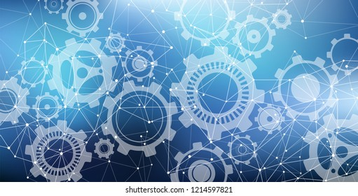 Virtual network design with gears system – technology / cyberspace / industry / software background – vector illustration