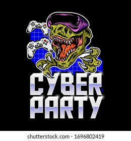 Virtual party inscription with angry T rex dinosaur in which play virtual arcade video game in modern VR glasses. Mascot sport logo design vector illustration. Print geek culture for t shirt apparel.
