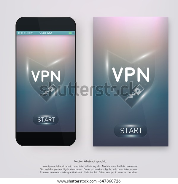 Virtual Private Network Ui Mobile App Stock Vector (Royalty