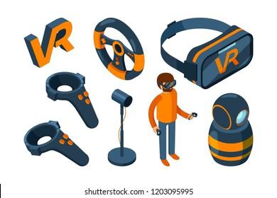 Virtual reality 3d. Vr game futuristic helmet and digital glasses augmentation headset vector isometric. 3d vr device, helmet and joystick, mask for simulation virtual illustration