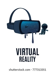 Virtual reality. The astronaut flies out of virtual reality glasses. Vector illustration