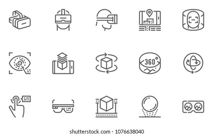 Virtual Reality and Augmented Reality Vector Line Icons Set. Virtual Reality Helmet, Panorama. Editable Stroke. 48x48 Pixel Perfect.