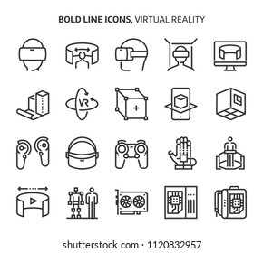 Virtual reality, bold line icons. The illustrations are a vector, editable stroke, 48x48 pixel perfect files. Crafted with precision and eye for quality.
